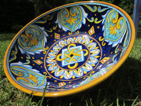 Tuscan ceramic medium pasta bowl handmade, hand painted with geometric designs