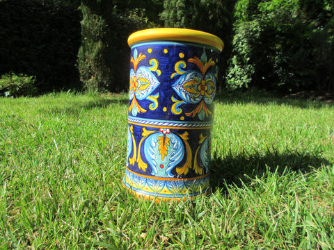 Tuscan ceramic utensil holder handmade, hand painted in geometric style on blue, very traditional designs