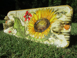 Tuscan serving rectangular platter with handles, lions,round corner handmade, hand-painted with sunflower design