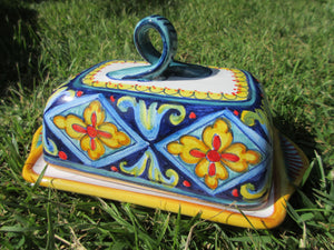 Tuscan ceramic butter dish handmade, hand painted with lemons,fruits,giglio and tuscany design