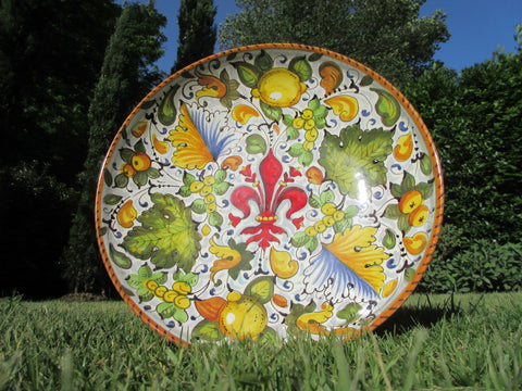 Tuscan ceramic bowl handmade, hand painted with fleur-de-lis/giglio designs