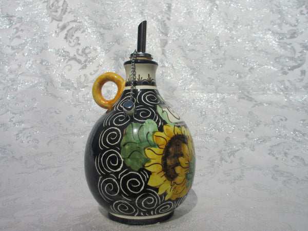 Tuscan oil container handmade ceramic, hand-painted 'olio' with lemons, grapes, sunflowers designs