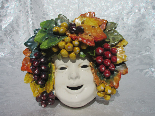 Tuscan handmade and handpainted mask with grapes or lemons in traditional design