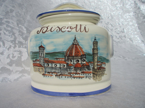 Tuscan ceramic cookie jar handmade, hand painted with 'biscotti' in Florence view design