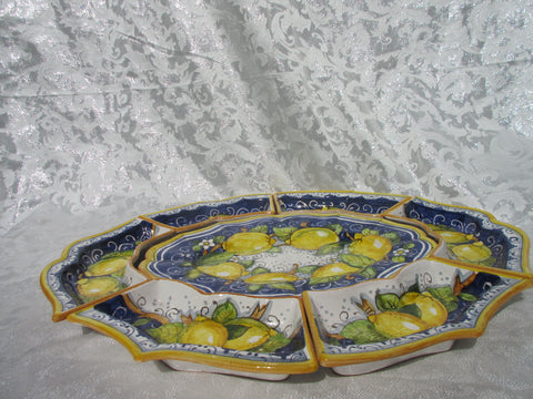 Tuscan tray/antipasto dish handmade ceramic, hand painted with lemons on blue design