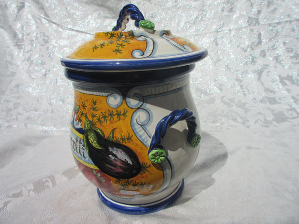 Tuscan ceramic cookie jar handmade, hand painted with 'biscotti' in tomatoes and eggplant design