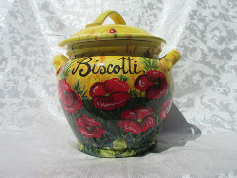 Tuscan hand made and handpainted 'biscotti' cookie jar in poppies design