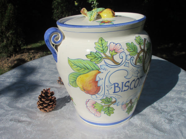 Tuscan ceramic cookie jar handmade, hand painted with 'biscotti' pear design