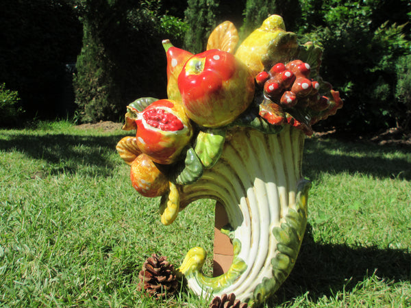 Tuscan fruits decoration/cornucopia hand made, hand painted kitchen art