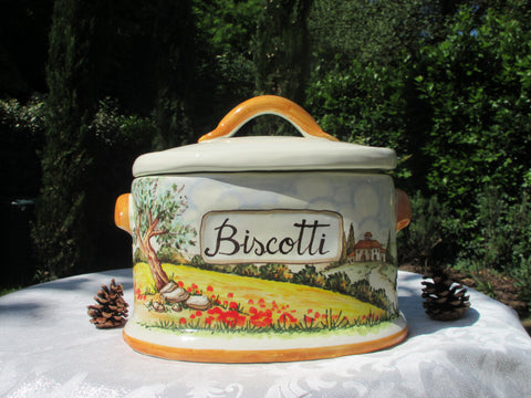 Tuscan ceramic cookie jar handmade, hand painted with 'biscotti' in landscaping design