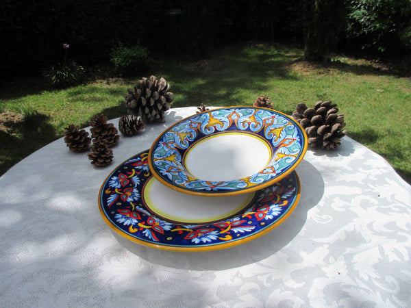 Tuscan dish/plate handmade ceramic, hand-painted in geometric design