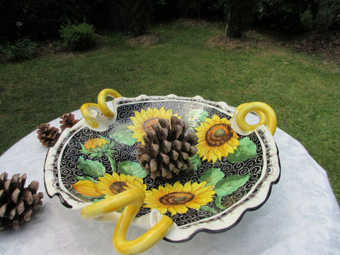 Tuscan centerpiece bowls with handles ,hand made ,hand painted in sunflowers design on black background