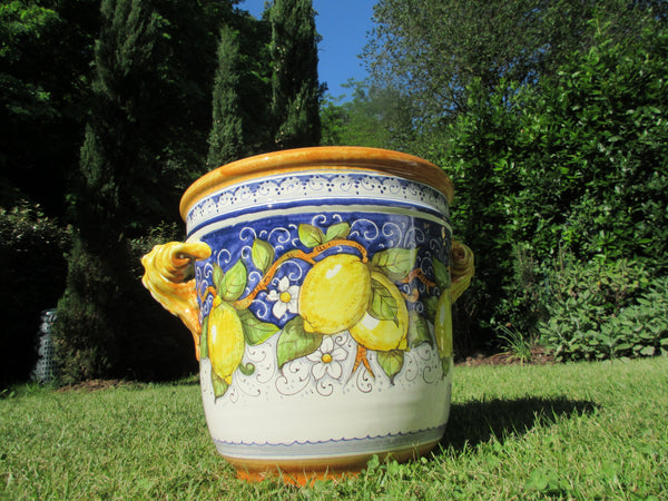 Tuscan planters hand made and hand painted in lemons design