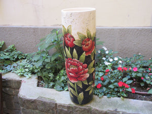 "Tuscan vase handmade, hand-painted with ""peonia"" flowers in a very modern shape and design"