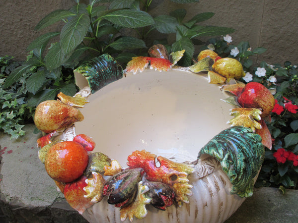 Tuscan ceramic planters with tridimensional fruits