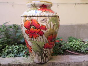 Tuscan large urns in poppies design very traditional shape