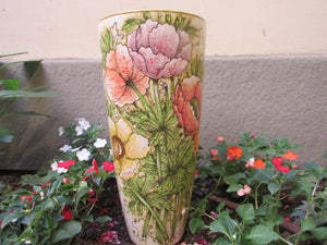 Tuscan vase handmade, hand-painted with anemone flower in a very modern shape and design