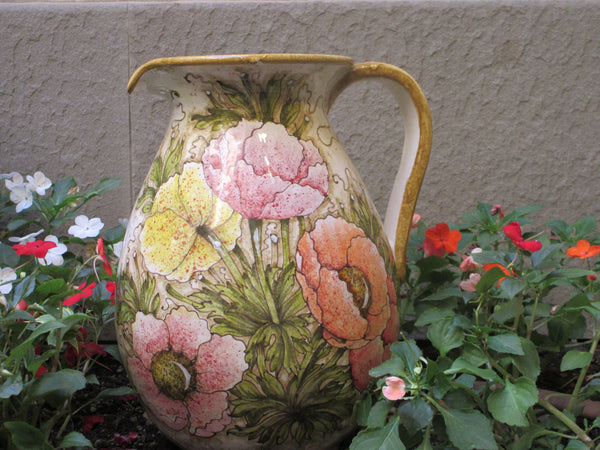 Tuscan pitcher with anemone design in a very modern shape