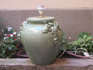 Tuscan ceramic lamp in green traditional style