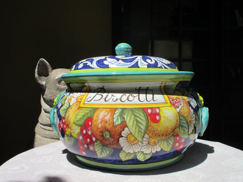 Tuscan large cookie jar handmade, hand painted with 'biscotti' in fruits design