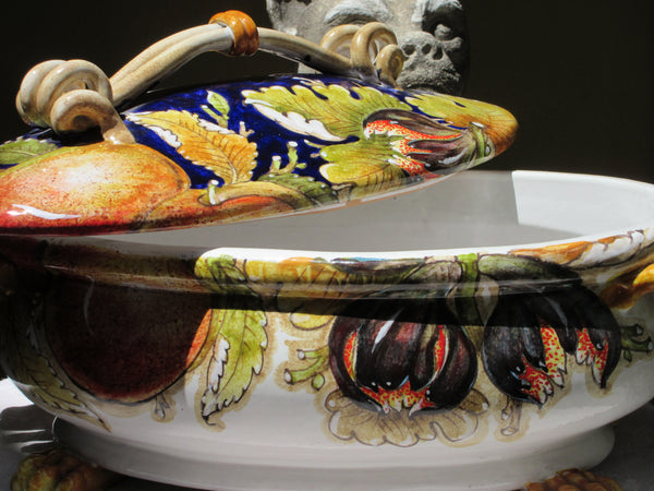 Tuscan hand made, hand painted soup tureen in fruits and blue design
