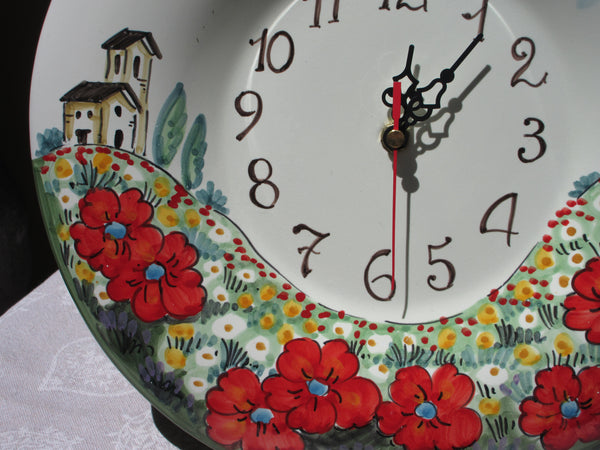 Tuscan wall clock decoration handmade, hand-painted kitchen art