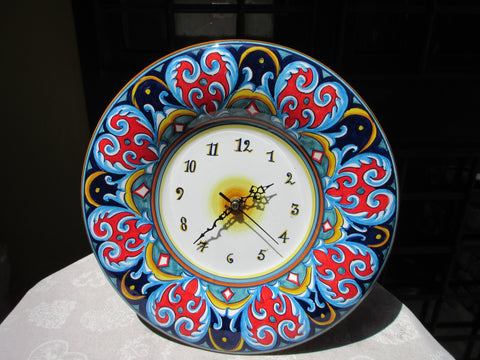 Tuscan wall clock decoration handmade, hand-painted kitchen art in geometric pattern