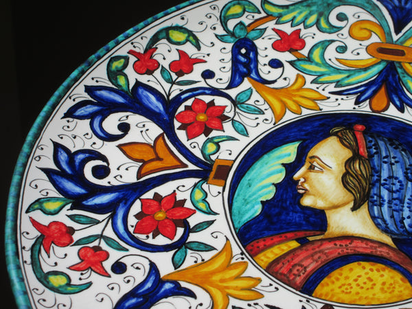 Tuscan wall plate handmade ceramic, hand-painted with geometric design and female figure
