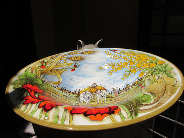 Tuscan wall plate/centerpiece handmade, hand-painted with typical contryside,poppies and cypress tree .