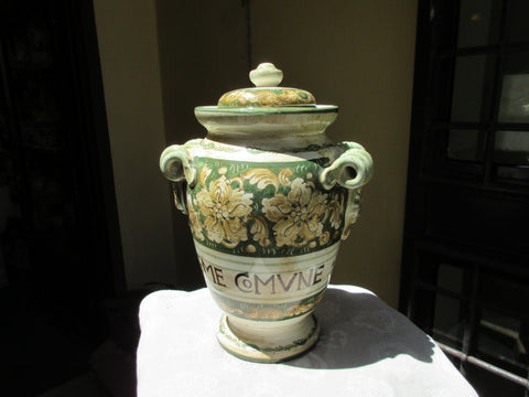 "Tuscan albarello"", jar handmade, hand-painted with renassaince style and in a very traditional shape"
