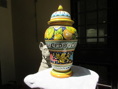 "Tuscan albarello"", jar handmade, hand-painted with lemons and oranges in a very traditional design"