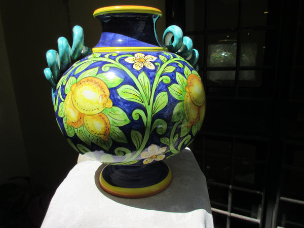 Tuscan vase with detailed handles hand made hand painted in lemons design