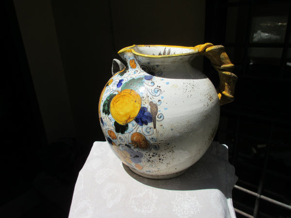 Tuscan pitcher hand made, hand painted with Medici crest and antique finish