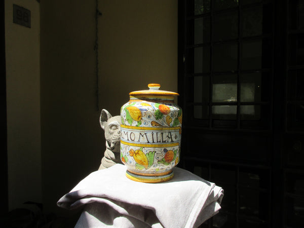 Tuscan camomille/tea jar hand made , hand painted with antique finish detail