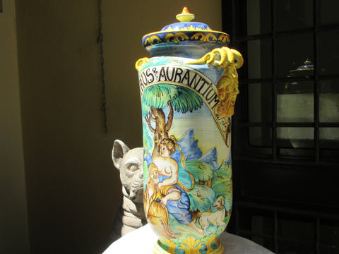 "Tuscan albarello"", jar handmade, hand-painted with old writing ""cytrus aurantium"" from pharmacy collection"