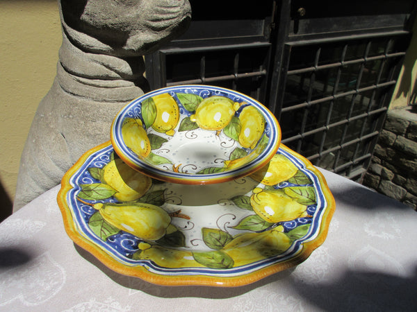 Tuscan dish/plate handmade ceramic, hand-painted in traditional lemons and blue design