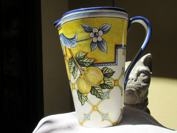 Tuscan wine decanter/carafe handmade, hand painted with lemons, Tuscan pattern