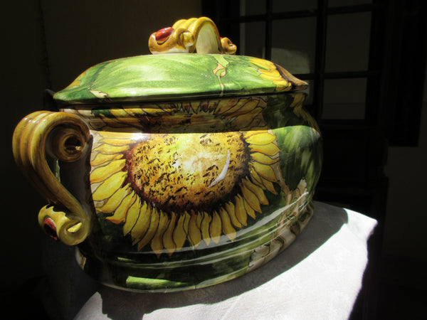 Tuscan hand made soup toureen in sunflower design