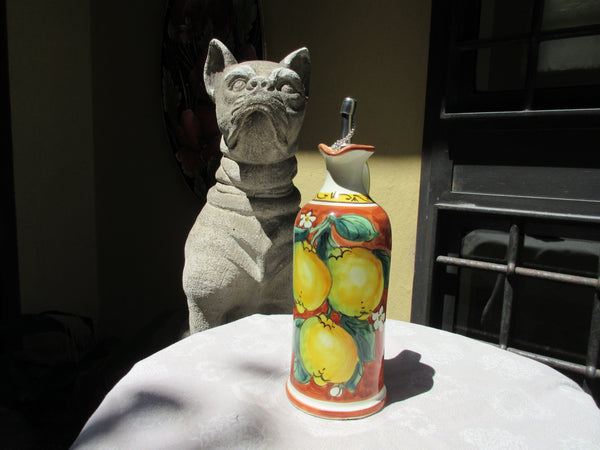 Tuscan oil container handmade ceramic, hand-painted 'olio with lemons, grapes, sunflowers designs