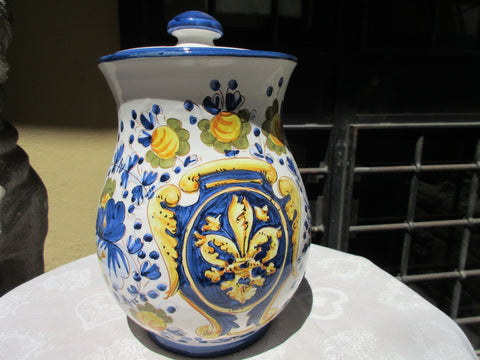 Tuscan ceramic cookie jar handmade, hand painted with 'biscotti' fleur-de-lis design