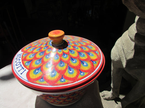 Tuscan ceramic cookie jar handmade, hand painted with red peacock/pavone design