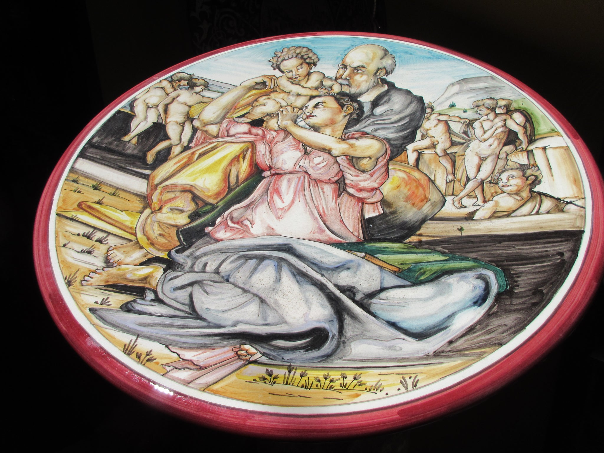 Tuscan wall plate as reproduction of Michelangelo , tondo Doni , Sacra famiglia