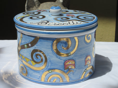 "Tuscan ceramic cookie jar handmade, hand painted with 'biscotti' and gold for the ""three of life""design"
