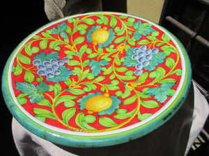 Tuscan wall plate/centerpiece handmade, hand-painted with typical grapes and lemons on very bright red background