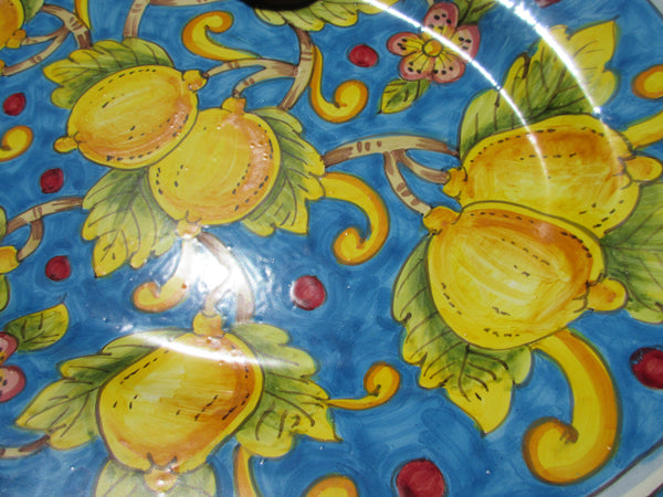 Tuscan platter handmade, hand painted with geometric and lemons on yellow,light blue and white background,designs