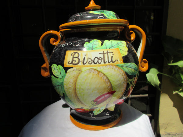 Tuscan ceramic cookie jar handmade, hand painted with pumpkin and chilli design