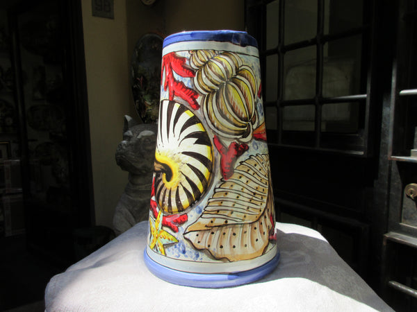 Tuscan wine pitcher handmade, hand painted 'vino' with sea star, seashells in warm orange,red design