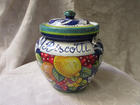 Tuscan ceramic cookies/biscotti jar handmade, hand painted with fruits designs
