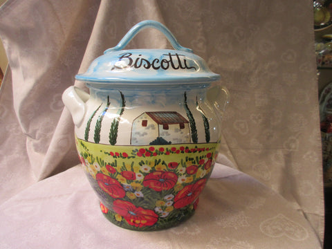 Tuscan ceramic cookie jar handmade, hand painted with 'biscotti' in coutryside design