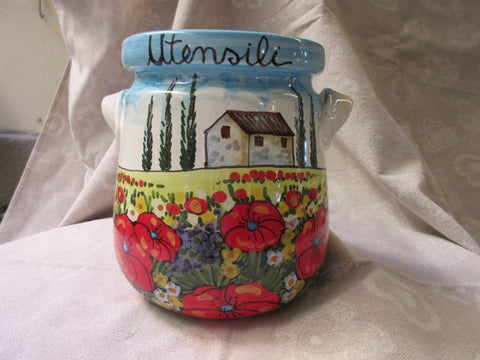 Tuscan ceramic utensil holder handmade, hand painted with traditional tuscan countryside